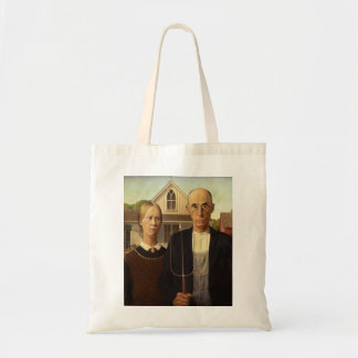 Grant Wood American Gothic Fine Art Painting Budget Tote Bag