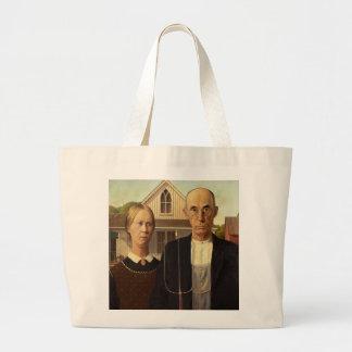 Grant Wood American Gothic Fine Art Painting Jumbo Tote Bag