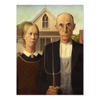 Grant Wood American Gothic Fine Art Painting Card