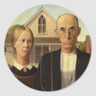 Grant Wood American Gothic Fine Art Painting Classic Round Sticker