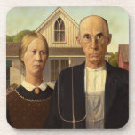 Grant Wood American Gothic Fine Art Painting Beverage Coasters