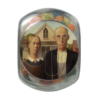 Grant Wood American Gothic Fine Art Painting Jelly Belly Candy Jars