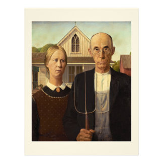 Grant Wood American Gothic Fine Art Painting Letterhead Design