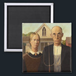 """Grant Wood American Gothic Fine Art Painting Magnet<br><div class=""""desc"""">Grant Wood American Gothic American Gothic is a 1930 painting by Grant Wood and one of America&#39;s most famous paintings. Wood&#39;s inspiration came from what is now known as the American Gothic House in Iowa, and his decision to paint the house along with &quot;the kind of people I fancied should...</div>"""