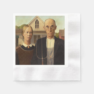 Grant Wood American Gothic Fine Art Painting Napkin