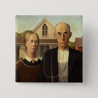 Grant Wood American Gothic Fine Art Painting Pinback Button