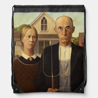 Grant Wood American Gothic Fine Art Painting Backpack