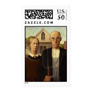 Grant Wood American Gothic Fine Art Painting Postage