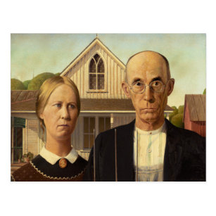 Grant Wood American Gothic Fine Art Painting Postcard