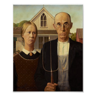 Grant Wood American Gothic Fine Art Painting Poster