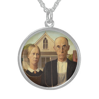 Grant Wood American Gothic Fine Art Painting Round Pendant Necklace