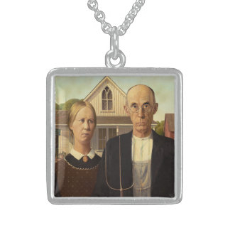 Grant Wood American Gothic Fine Art Painting Square Pendant Necklace