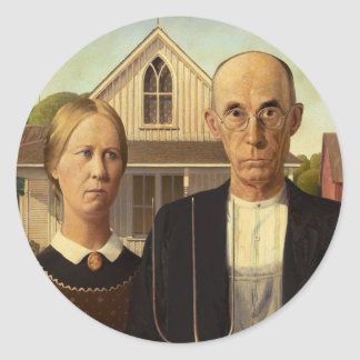 Grant Wood American Gothic Fine Art Painting Round Sticker
