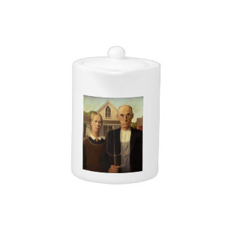 Grant Wood American Gothic Fine Art Painting Teapot