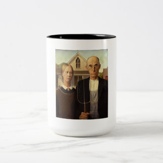 Grant Wood American Gothic Fine Art Painting Two-Tone Coffee Mug