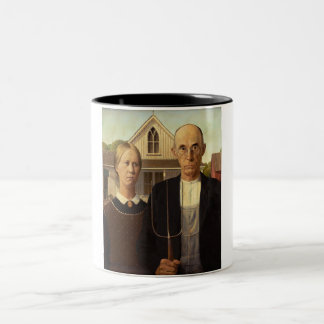 Grant Wood American Gothic Fine Art Painting Two-Tone Coffee Mug