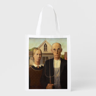 Grant Wood American Gothic Fine Art Painting Reusable Grocery Bags