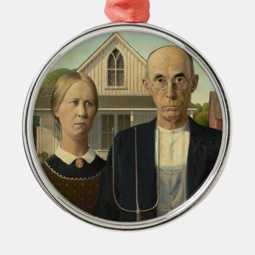 Grant Wood - American Gothic Ornaments