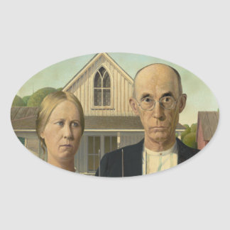 Grant Wood - American Gothic Oval Sticker