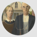 Grant Wood - American Gothic Round Stickers