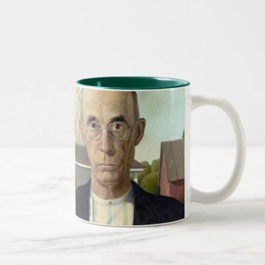 "Grant Wood ""American Gothic"" Two-Tone Coffee Mug"