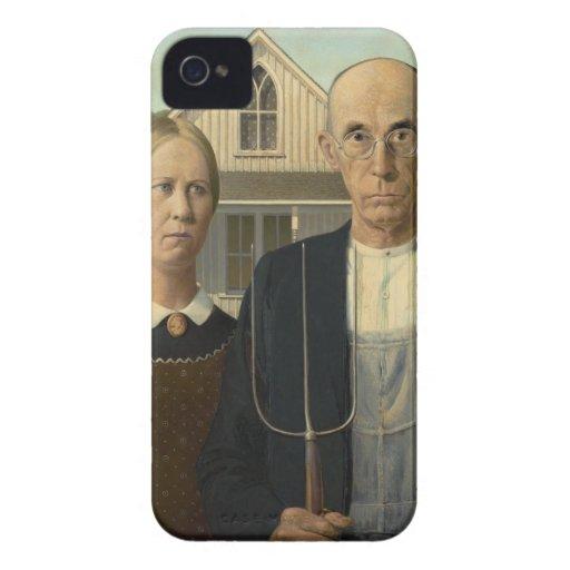 Grant Wood - gótico americano Case-Mate iPhone 4 Fundas