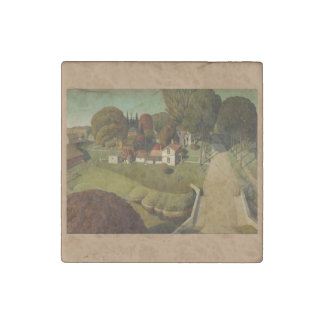 Grant Wood Painting Marble Stone Magnet