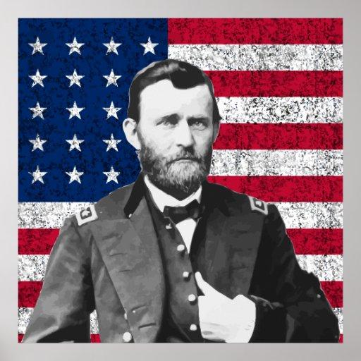 Grant y la bandera americana póster