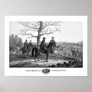 Grant y Lee en Appomattox -- Guerra civil Póster