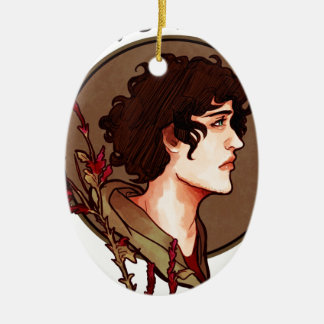 Grantaire Nouveau Double-Sided Oval Ceramic Christmas Ornament