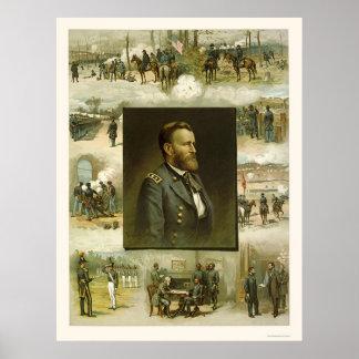 Grant's Career Scenes by L. Prang & Company 1885 Poster