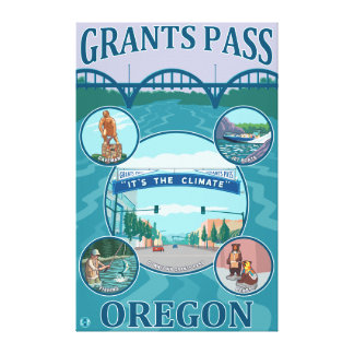 Grants Pass, OregonScenic Travel Poster Canvas Print