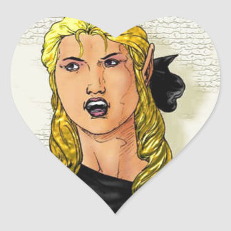 Granuja femenino de Elfen de la fantasía Pegatina En Forma De Corazón