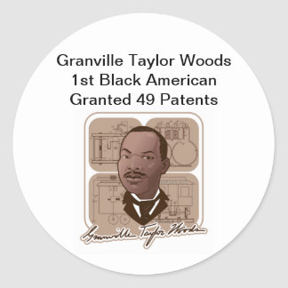 Granville T Woods Products w/ Text & Photo #600 Classic Round Sticker