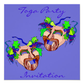 Grape Adorned Drama Masks Toga Party Invitation