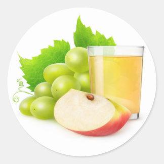 Grape and apple juice classic round sticker