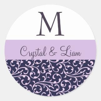 GRAPE and LILAC PURPLE Damask Wedding Monogram Classic Round Sticker