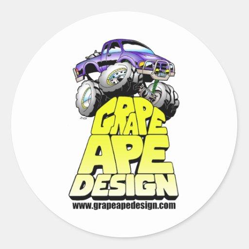 Grape Ape Design Round Sticker