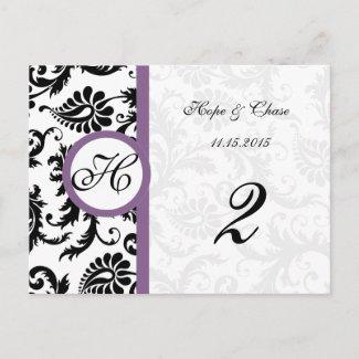 Grape & Black Damask Swirls Table Number Cards postcard