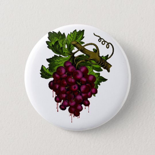 Grape Bunch Dripping Blood Pinback Button