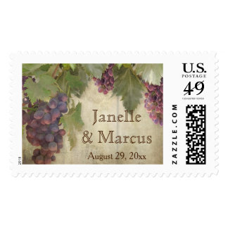 Grape Elegant Rustic Vineyard Winery Fall Wedding Postage