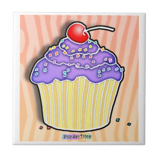 Grape Frosted Cupcake Tile