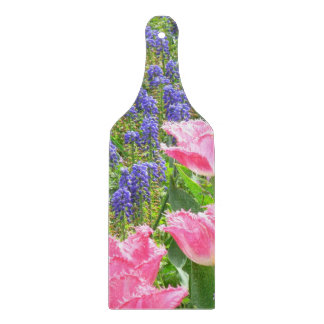 """GRAPE HYACINTHS AND PINK TULIPS"" CUTTING BOARD"