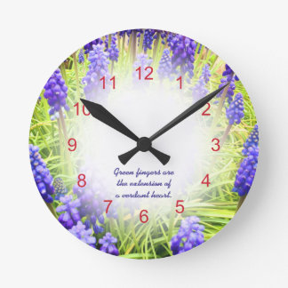 Grape Hyacinths Muscari Round Clocks