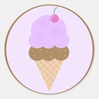 Grape Ice Cream Cone Classic Round Sticker