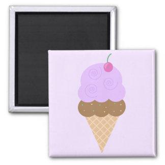 Grape Ice Cream Cone 2 Inch Square Magnet
