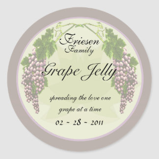 Grape Jelly labels Classic Round Sticker