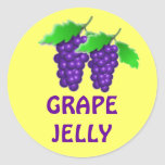 Grape jelly or jam or preserves canning label classic round sticker