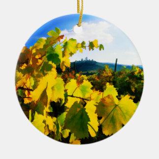 Grape Leaves and the Sky Christmas Tree Ornament