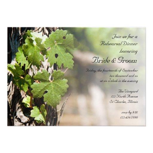 Grape Leaves Vineyard Rehearsal Dinner Invite